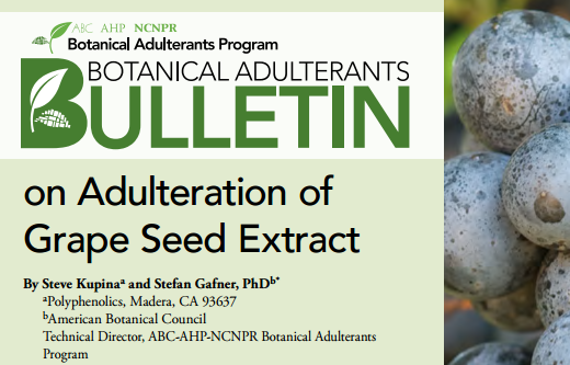 Adulteration of grape seed extracts