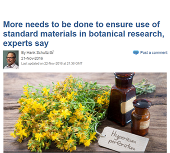 Polyphenolics contributes to article calling for standard materials in botanical research